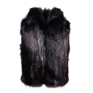 Black Quail Hooded | Faux Fur Gilet