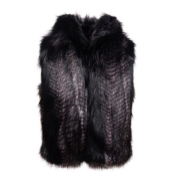 Black Quail Hooded | Faux Fur Gilet