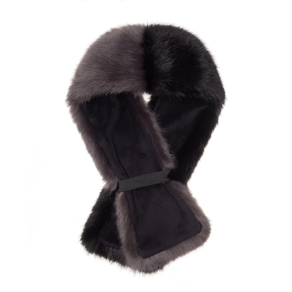 STEEL & JET | FAUX FUR | TWO TONE TIPPET SCARF