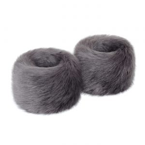 Steel | Faux Fur Wrist Warmers