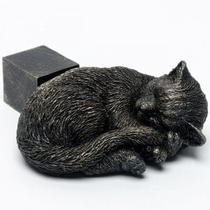 Bronze Sleeping Cat Curled Up Set of 3
