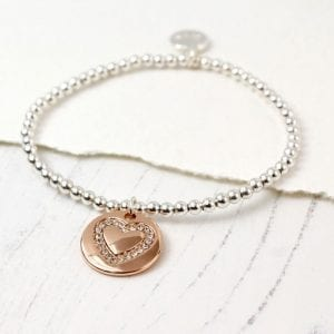 CRYSTAL HEART & ROSE GOLD DISC | BRACELET