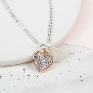 DOUBLE HEART ROSE GOLD | CRYSTAL NECKLACE