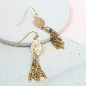 GOLD LASER CUT | LEAF & TASSEL EARRINGS