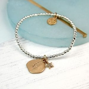 GOLD PLATED FEATHER IMPRINT | STAR BRACELET
