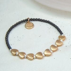 GREY BEAD | MATT GOLD HEART BRACELET