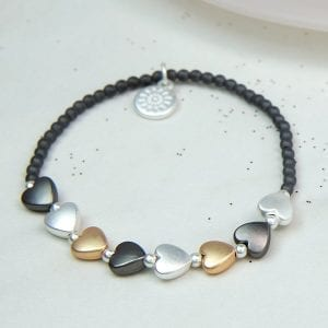 GREY BEAD | MIXED METALLIC HEART BRACELET