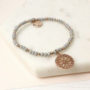 GREY & ROSE GOLD BEAD MANDALA | BRACELET