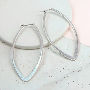 LARGE SILVER PLATED | WORN MARQUISE EARRINGS