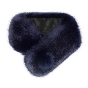 Midnight | Faux Fur Pom Button Collar