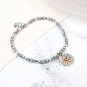 SILVER PLATED GREY BEAD & ROSE | DANDELION BRACELET