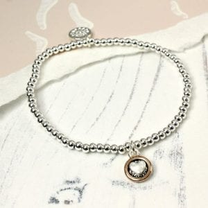 SILVER PLATED HEART IN ROSE GOLD CIRCLE | BRACELET