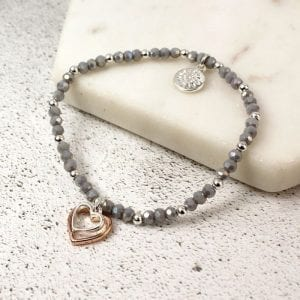 SILVER & ROSE GOLD HEART GREY BEAD | BRACELET