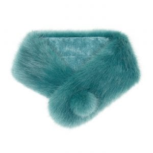 Sea Green | Faux Fur Pom Button Collar