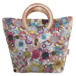 Hot Sunflower | Round Wood Handle Bag