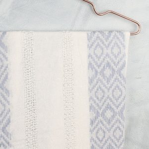 Ivory & Blue Diamond Stitch Scarf