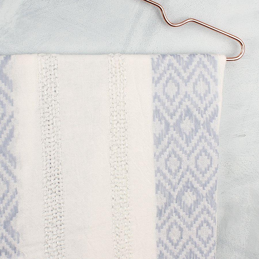 Ivory & Blue Diamond Stitch Scarf