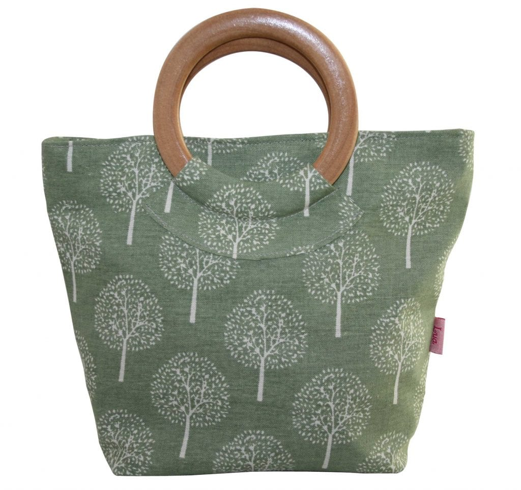 Light Olive Mulberry Tree Round Wood Handle Bag Fabric Bags Vegan Haven