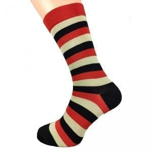RED BLACK & CREAM | STRIPED SOCKS