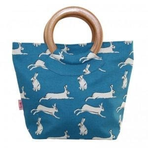 Turquoise Hares | Round Wood Handle Bag