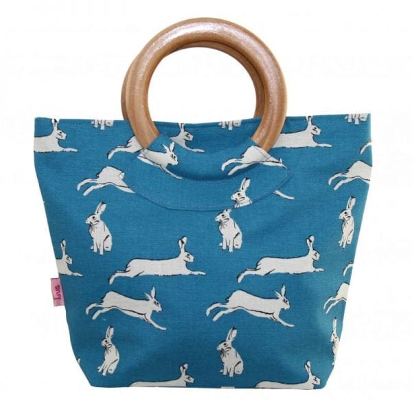 Turquoise Hares   Round Wood Handle Bag