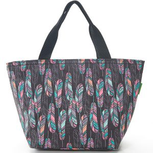 Black Feather Lunch Bag