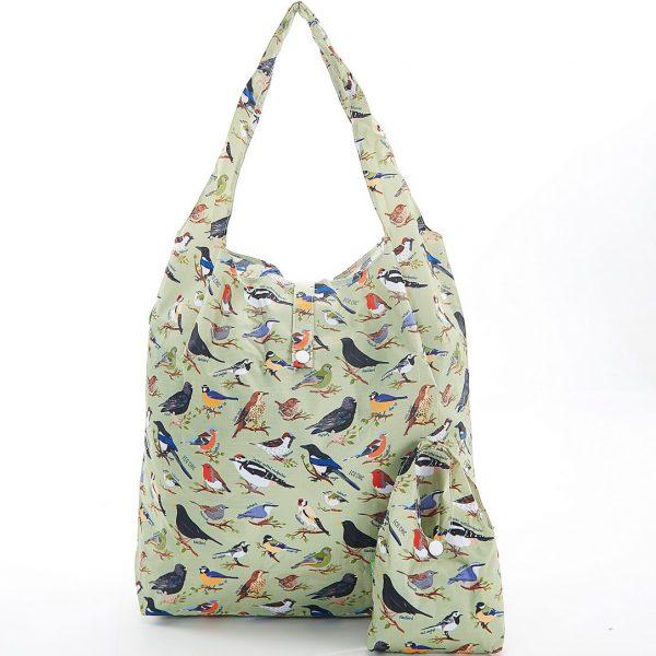 Green Wild Birds Foldaway Shopper