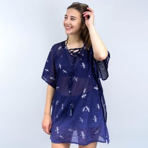 NAVY COTTON & SILVER DRAGONFLIES | KAFTAN
