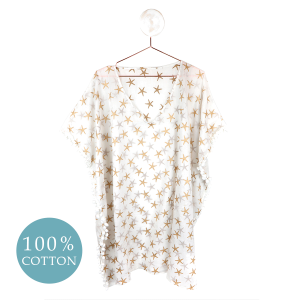 WHITE COTTON & GOLD STARFISH | KAFTAN