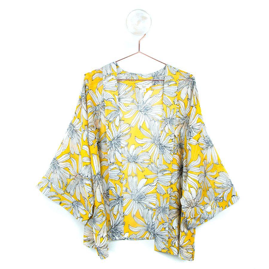 YELLOW LARGE FLOWER | KIMONO