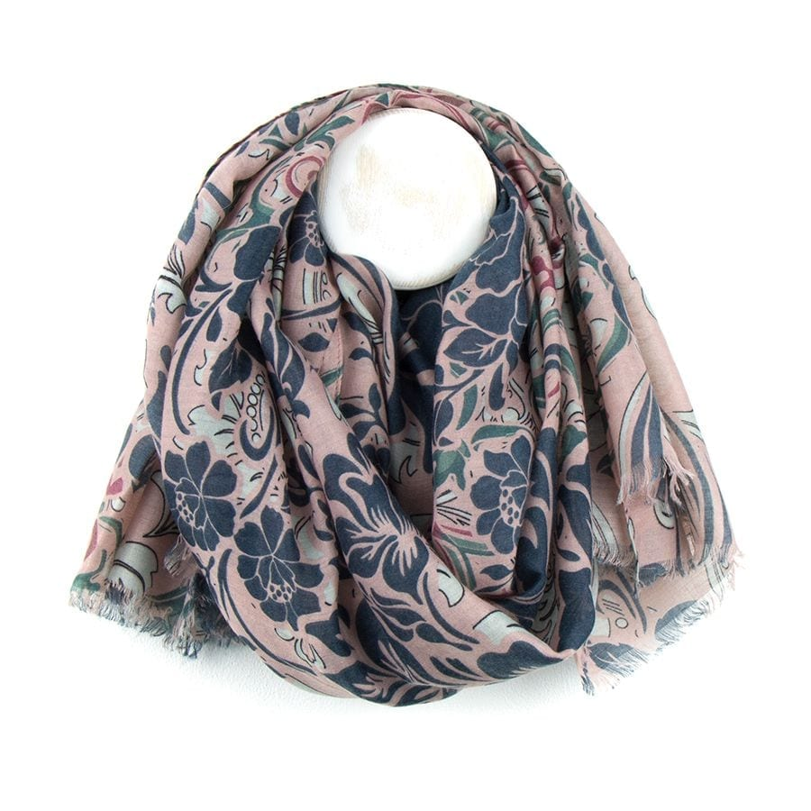 Floral Pink Mix Baroque Print Scarf