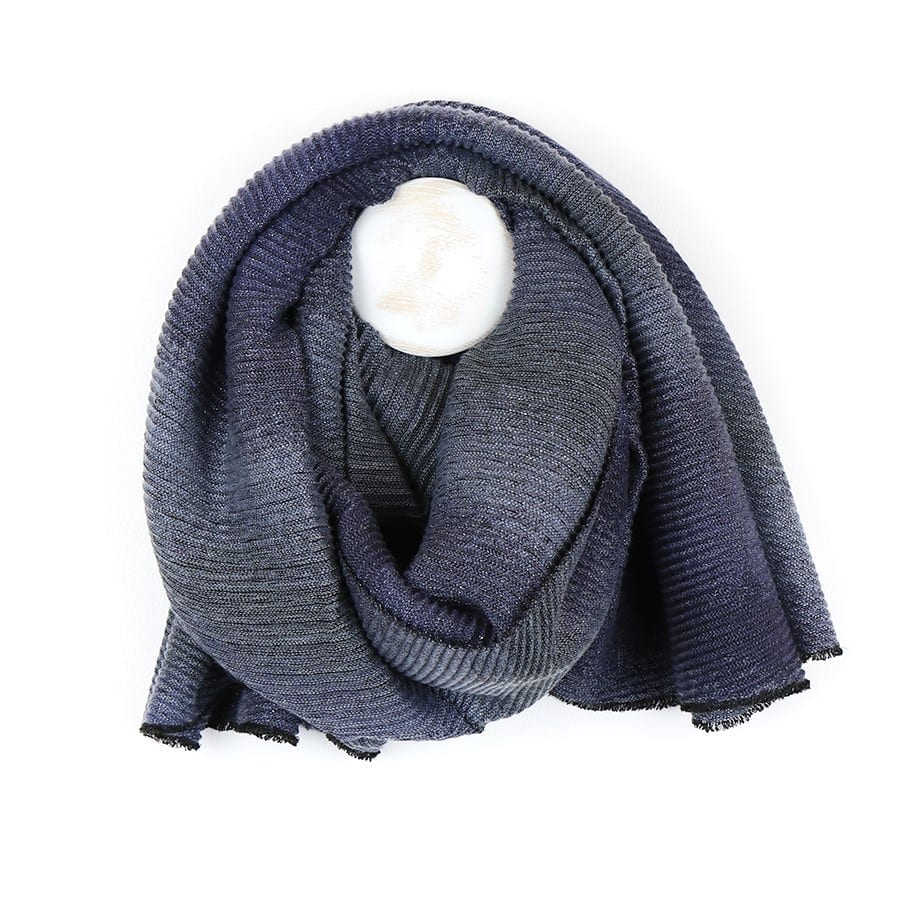 Grey Mix Pleated Ombre Scarf
