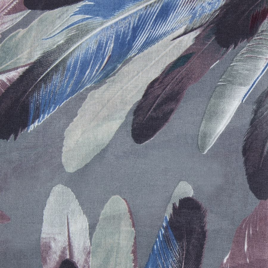 Grey Painted Feather Scarf
