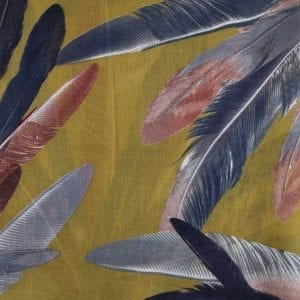 Mustard Yellow Painted Feather Scarf