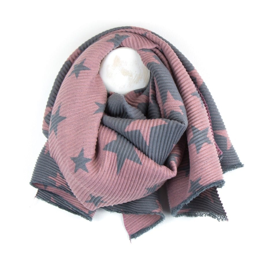 Reversible Grey & Pink Pleated Star Scarf