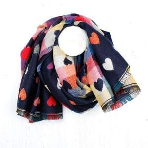 Navy Blue Mixed Heart Pattern Winter Scarf