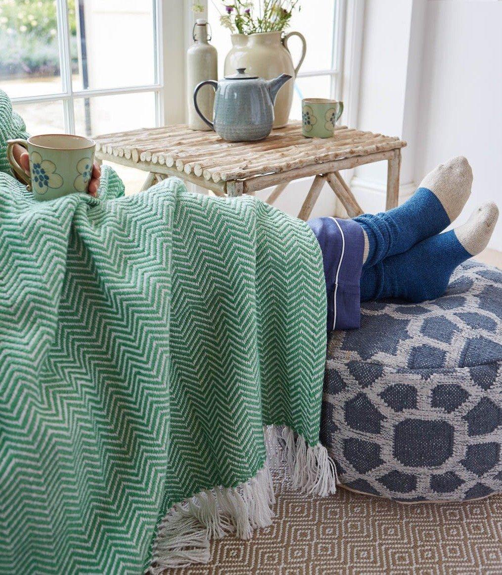 Herringbone | Aqua Blanket