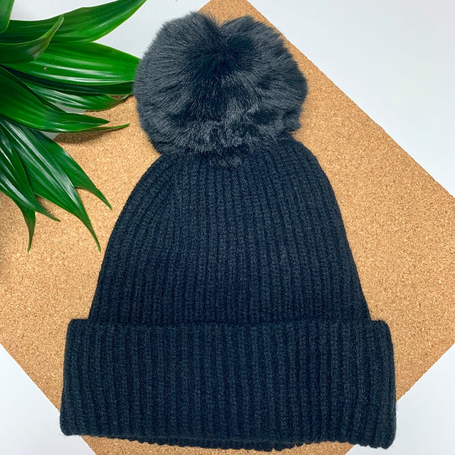 Black Pom Pom Hat 2 copy