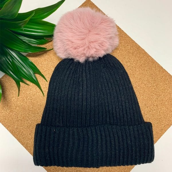 Black With Pink Pom Pom Hat