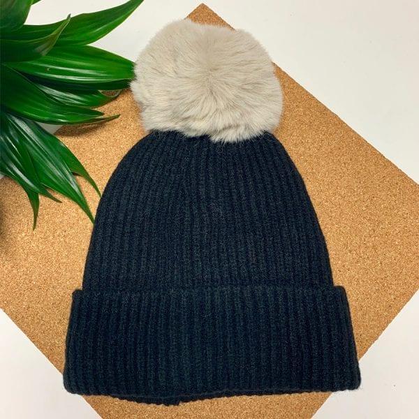 Black With White Pom Pom Hat
