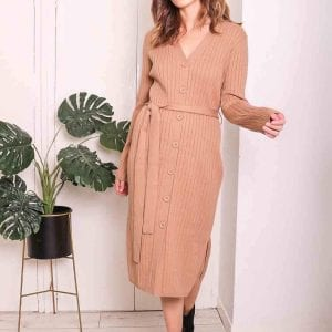 CAMEL JESSY | BUTTON THROUGH DRESS