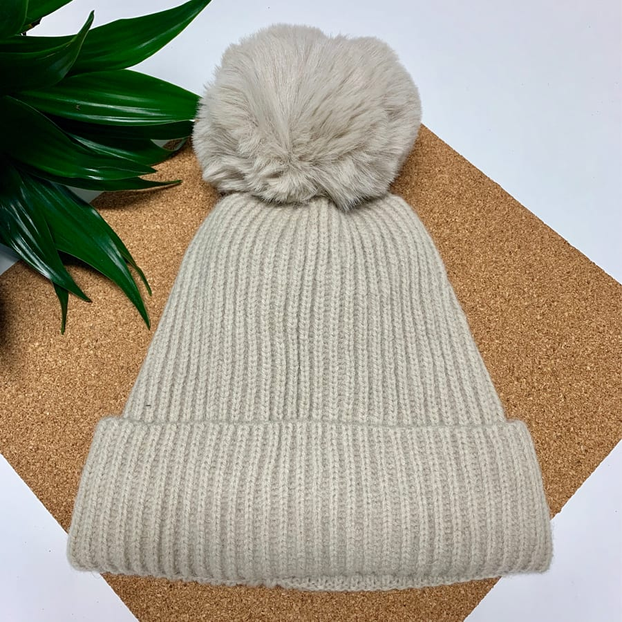 Cream Pom Pom Hat 2 copy