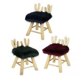 Blue Fluffy Wooden Deer Chair