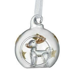 Clear & Gold Star Bauble With Deer