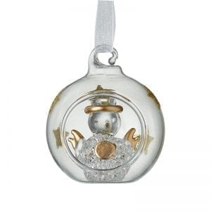 Clear & Gold Star Bauble With Snowman