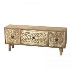 Gold & Wooden Drawers Chest