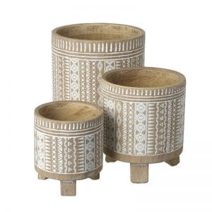 Small Wooden Patterned Pot