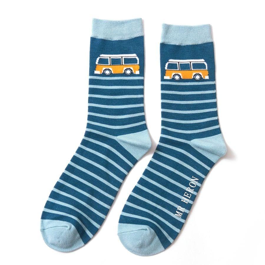 Teal Camper Stripe Socks