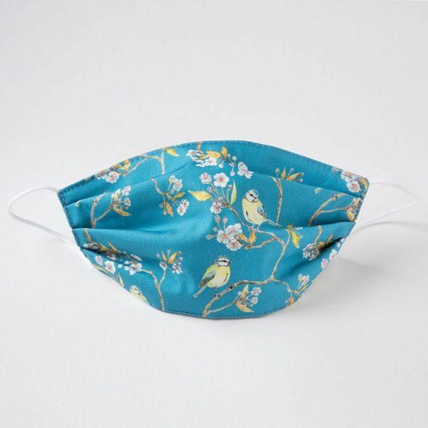 Blue Tit on Blossom Face Mask