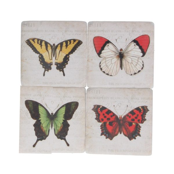 Bright Butterfly Set of 4 Coasters